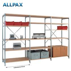 Manuflex Fachbodenregal Megaflex - Grundregal mit 5 Fachböden Holzverbund Nr. 29 (Diagonale extra)