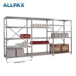 Manuflex Fachbodenregal Megaflex - Anbauregal mit 7 Fachböden Stahlboden glanzverzinkt Nr. 44 (2 Dia