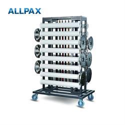 Transportwagen mit 16 PVC-Rohrhalterungen für Abgrenzungsständer