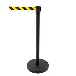 Eleganter Abgrenzungsständer, schwarz lackiert, Zugband gelb-schwarz gestreift