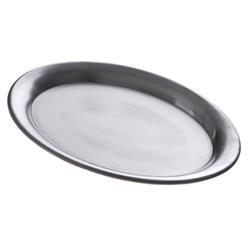 Serviertablett -KAFFEEHAUS- oval, Edelstahl matt poliert
