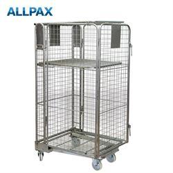 Rollbehälter LxBxH 740 x 830 x 1700 mm mit Deckel und Zwischenboden