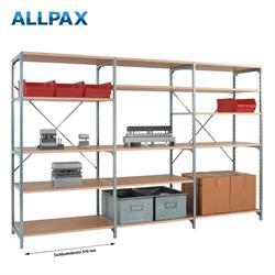 Manuflex Fachbodenregal Megaflex - Anbauregal mit 5 Fachböden Holzverbund Nr. 22 (Diagonale einfach)