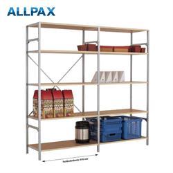 Manuflex Fachbodenregal Megaflex - Anbauregal mit 6 Fachböden Holzverbund Nr. 22 (Diagonale einfach)