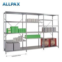 Manuflex Fachbodenregal Megaflex - Anbauregal mit 6 Fachböden Stahlboden glanzverzinkt Nr. 44 (Diago