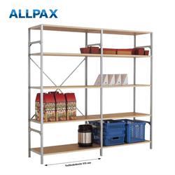 Manuflex Fachbodenregal Megaflex Light -Anbauregal mit 5 Fachböden Holzverbund Nr. 22 (Diagonale ein