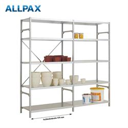 Manuflex Fachbodenregal Megaflex Light -Anbauregal mit 5 Fachböden Stahlboden glanzverzinkt Nr. 40 (