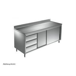 Arbeitsschrank 1800 x 700 mm - mit Schiebetüren, 3 Schubladen