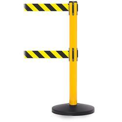 Stoppo XL afzetpaal geel, dubbel trekband geel-zwart gestreept