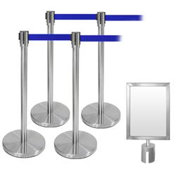 Abgrenzungsständer Set 5-tlg. Edelstahl blau