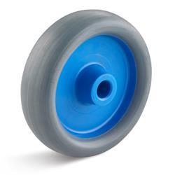 Set besteht aus: 4 Laufrollen,  2 feststellbar, mit blauer Felge