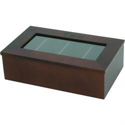 Teebox - dunkel, 4 Kammern - 34x20x10 cm
