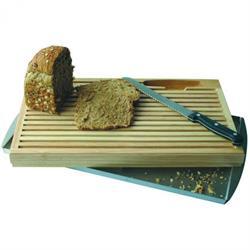 Brotschneidebrett mit Edelstahlschale, 47x25,5 cm