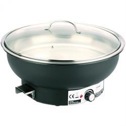 Elektro Chafing Dish rund mit Glasdeckel, 6,8 ltr., 230V / 500W