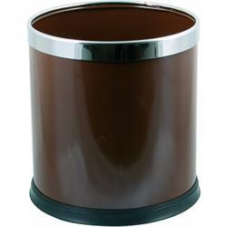Metall-Papierkorb mit Edelstahlring, braun