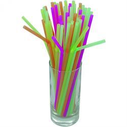 Beutel á 500 Stück - Trinkhalm, farbig sortiert, Neon