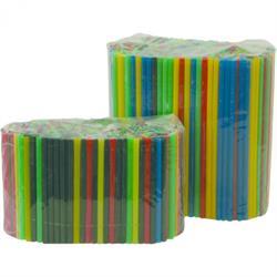 Beutel á 500 Stück - Trinkhalm, 8x150 mm, farbig sortiert