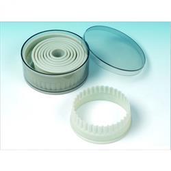 Nylon-Ausstechformen, rund, gewellt  2-10 cm, 9 Stück in Dose