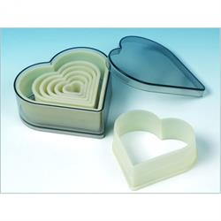 Nylon-Ausstechformen, Herz glatt, 2-11 cm, 7 Stück in Dose