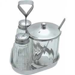 Menage 3-teilig, mit großem Senfglas, CNS