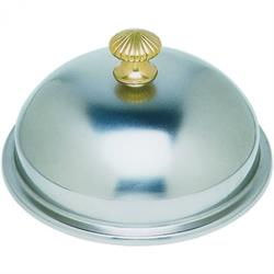 Teller-Speiseglocke mit Messingknopf, 28 cm