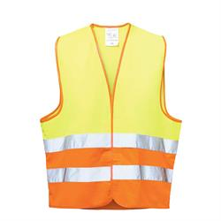 *WILHELM* POLYESTER-WARNWESTE GELB/ORANGE