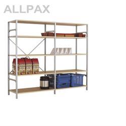 Manuflex Fachbodenregal Megaflex - Grundregal mit 5 Fachböden Holzverbund Nr. 22 (Diagonale extra)