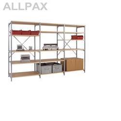 Manuflex Fachbodenregal Megaflex - Anbauregal mit 5 Fachböden Holzverbund Nr. 29 (Diagonale einfach)