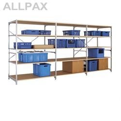 Manuflex Fachbodenregal Megaflex - Grundregal mit 6 Fachböden Holzverbund Nr. 30 (Diagonale extra)