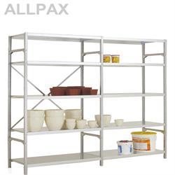 Manuflex Fachbodenregal Megaflex Light - Grundregal mit 6 Fachböden Stahlboden glanzverzinkt Nr. 40