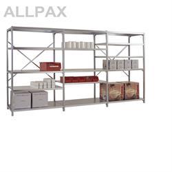 Manuflex Fachbodenregal Megaflex - Anbauregal mit 6 Fachböden Stahlboden glanzverzinkt Nr. 40 (Diago