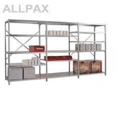 Manuflex Fachbodenregal Megaflex - Grundregal mit 6 Fachböden Stahlboden glanzverzinkt Nr. 44 (Diago