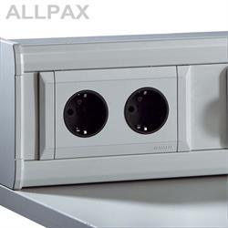 Schutzkontakt Steckdose, Einbauelement für Energieversorgungskanal