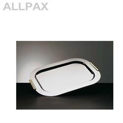 Tablett -FINESSE- rechteckig,Edelstahl mit vergoldeten Griffen