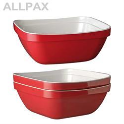 Schale -BASKET- quadratisch, weiß/rot