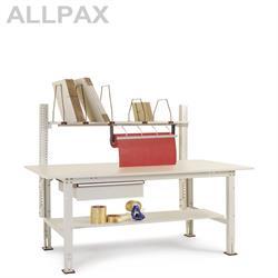 Manuflex Packtisch Packpool mit Schubfach, Papierabroller