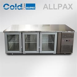 Gastronorm Kühltisch mit 3 Glas-Türen - 420 Liter