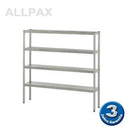 Aluminium-Regal 050 mit 4 Böden - Tiefe 380 mm