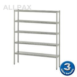 Aluminium-Regal 050 mit 5 Böden - Tiefe 380 mm