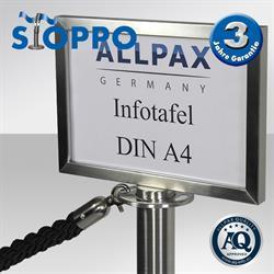 STOPPO Info-Tafel, quer, für Pfosten mit Kordeln