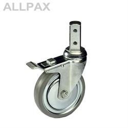 Manuflex 4 Lenkrollen mit 2 Radfeststellern - Vollgummi Ø 125 mm