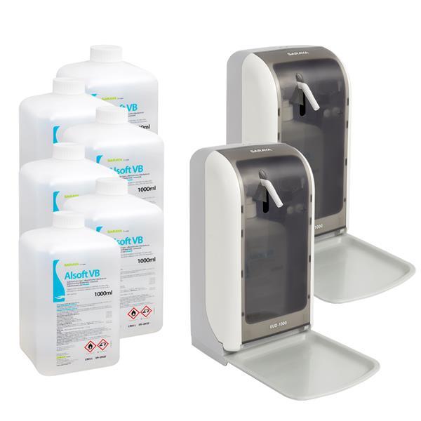 Saraya Set: 2x Desinfektionsspender S-1200 + 6x Handdesinfektionsmittel Alsoft VB 1000 ml