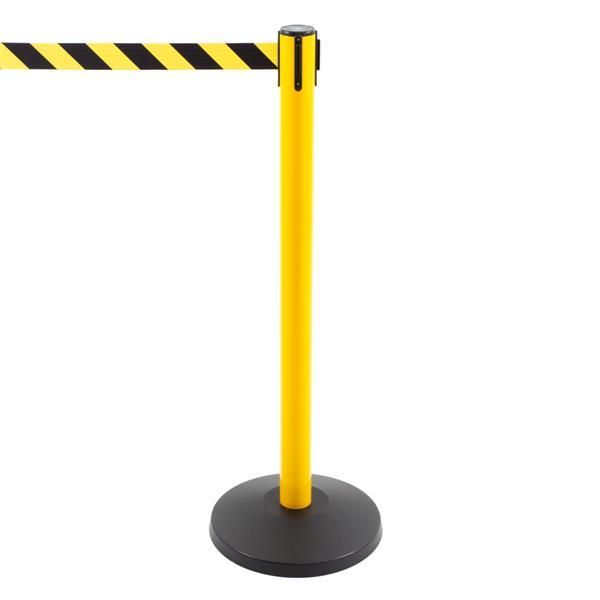 Stoppo XL Abgrenzungsständer gelb, 3,4m, Zugband gelb-schwarz gestreift