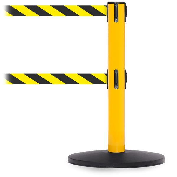 Stoppo XL Absperrständer gelb, doppeltes Zugband 2 x 3,4 m gelb schwarz gestreift