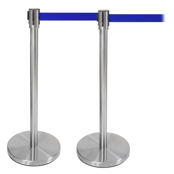 Abgrenzungsständer Set 2-tlg. Edelstahl blau