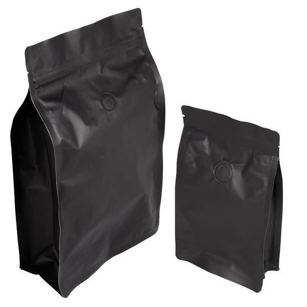 Blockbodenbeutel Alu mattschwarz mit Seitenfalte, Ventil und Zipper