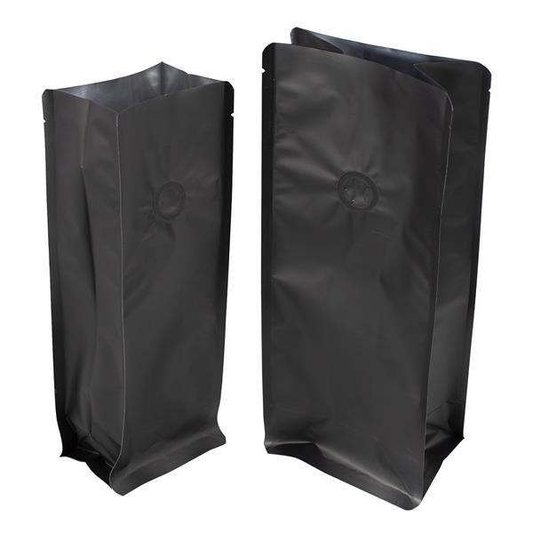 Blockbodenbeutel Alu mattschwarz mit Seitenfalte und Ventil