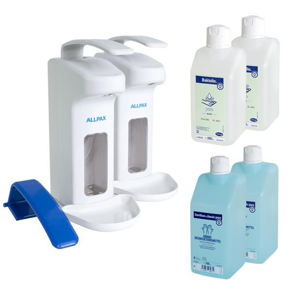 7 in 1 Set Desinfektionsspender 500 ml + Sterillium + Baktolin + Armhebel