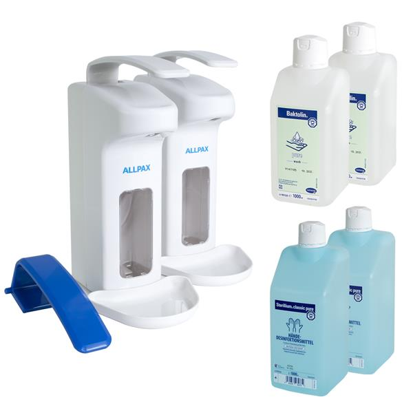 7 in 1 Set Desinfektionsspender 1000 ml + Sterillium + Baktolin + Armhebel