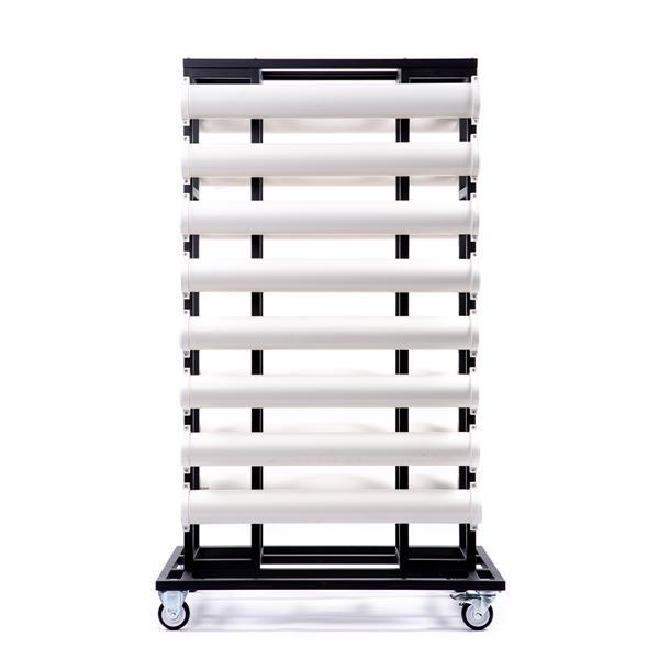 STOPPO Transportwagen mit PVC Rohren für 16 Absperrständer